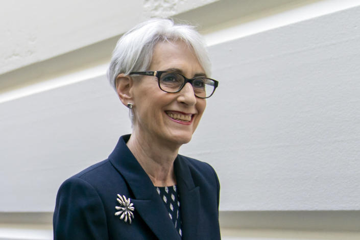 FILE - In this May 21, 2019, file photo Wendy Sherman arrives to meet with Speaker of the House Nancy Pelosi, D-Calif., at the Capitol in Washington. The Biden administration is encouraging Senate lawmakers to finally repeal an Iraq war authorization crafted when Saddam Hussein was still alive. Deputy Secretary of State Wendy Sherman testified before the Senate Foreign Relations Committee on Tuesday, Aug. 3, 2021 and rejected Republican arguments that killing off the 2002 measure would signal the U.S. is retreating from the Middle East. (AP Photo/J. Scott Applewhite, File)