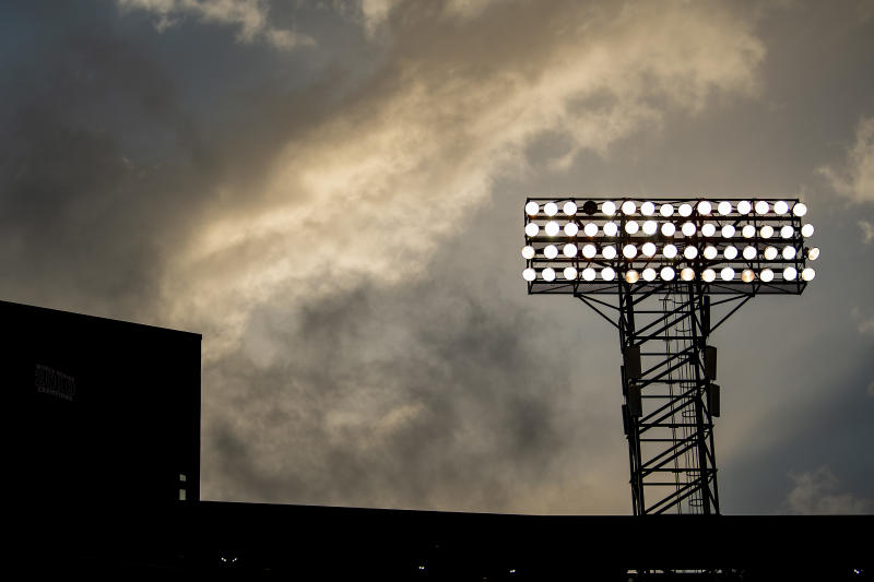 BOSTON, MA - APRIL 9: A light tower is displayed as the Major League Baseball season is postponed due the coronavirus pandemic on April 9, 2020 at Fenway Park in Boston, Massachusetts. (Photo by Billie Weiss/Boston Red Sox/Getty Images)