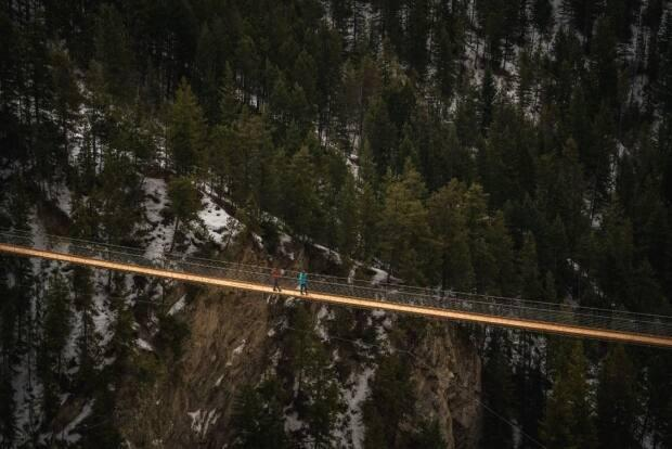 The 130-metre-high suspension bridge, located just outside Golden B.C., is the highest in Canada. (Submitted by Pursuit - image credit)