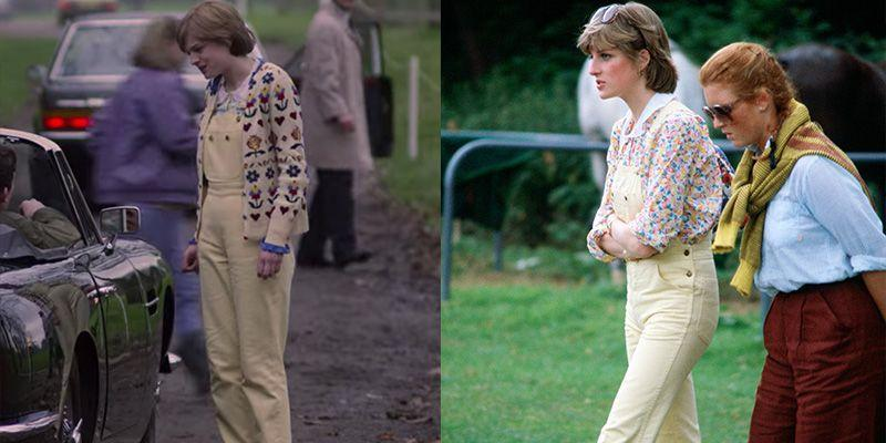 <p>Diana wore pale yellow dungarees with a floral button-down when she reconnected with Prince Charles on the show. In real life, Diana wore a very similar look, but it was after she and Charles were already an item. </p>