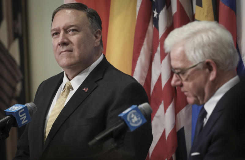 United States Secretary of State Michael Pompeo, left, and Foreign Minister of Poland Jacek Czaputowicz, right, hold a press visit during their visit to attend the United Nations Security Council on the Mideast, Tuesday Aug. 20, 2019 at U.N. headquarters. (AP Photo/Bebeto Matthews)