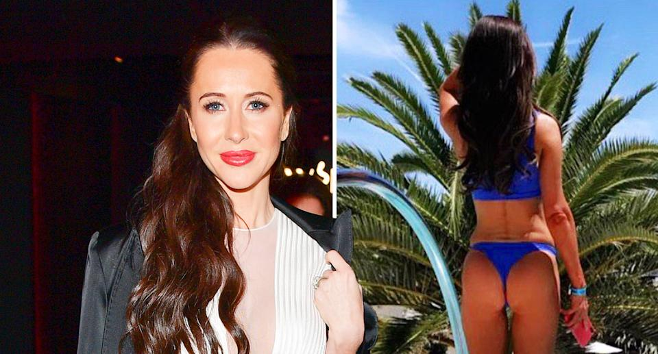 Jessica Mulroney defiantly re-shared a bikini post (right) with her followers. [Photo: Getty/Instagram]