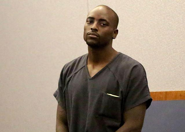 Former NFL player, Cierre Wood appears in court on Tuesday, April 16, 2019 in Las Vegas. Wood, arrested on suspicion of child abuse, now faces murder charges after his girlfriend's 5-year-old daughter died. (Michael Quine/Las Vegas Review-Journal via AP)