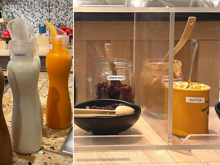 An image of salad dressing bottles and oatmeal toppings.