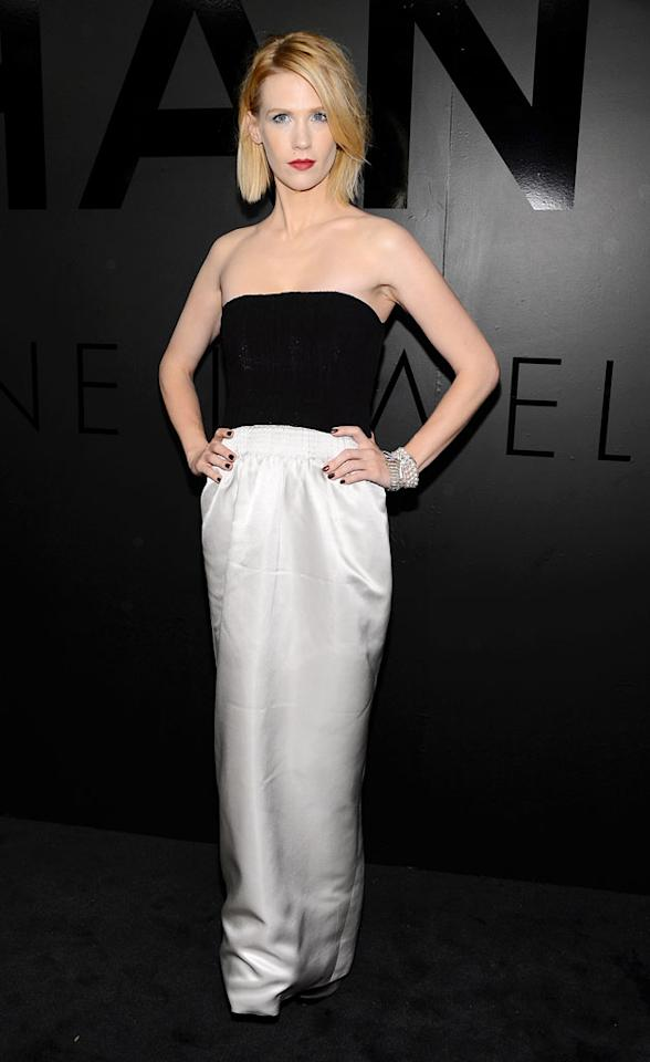 """""""Mad Men"""" actress January Jones stayed super serious on her way in to the event. The 34-year-old disappointed fashion critics with her strapless column dress, which included a too-long, wrinkled skirt. But all those blingy bracelets sure were eye-catching! (10/9/2012)"""