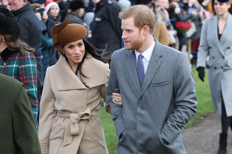 Meghan and Harry were snapped arm-in-arm on Christmas Day with the royal family. Photo: Getty Images