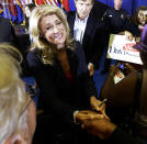 Sen. Wendy Davis, D-Fort Worth, shakes hands with a supporter after a rally Thursday, Oct. 3, 2013, in Haltom City, Texas. Davis formally announced her campaign to run for Texas governor (AP Photo/LM Otero)