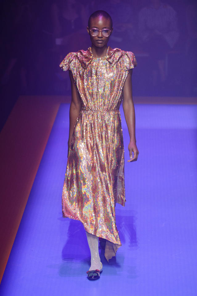 <p><i>Gold iridescent dress from the SS18 Gucci collection. (Photo: ImaxTree) </i></p>