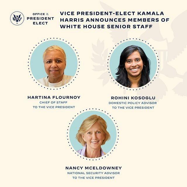 The top three positions in the office of the vice president will be held by women