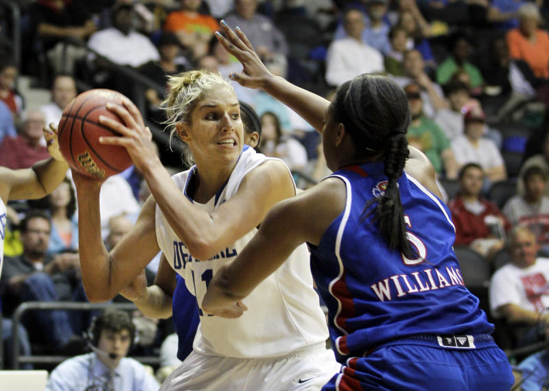 Delaware's Elena Delle Donne (11) is pressured by Kansas' Bunny Williams (5) during the second half of an NCAA tournament second-round women's college basketball game in Little Rock, Ark., Tuesday, March 20, 2012. Kansas defeated Delaware 70-64. (AP Photo/Danny Johnston)