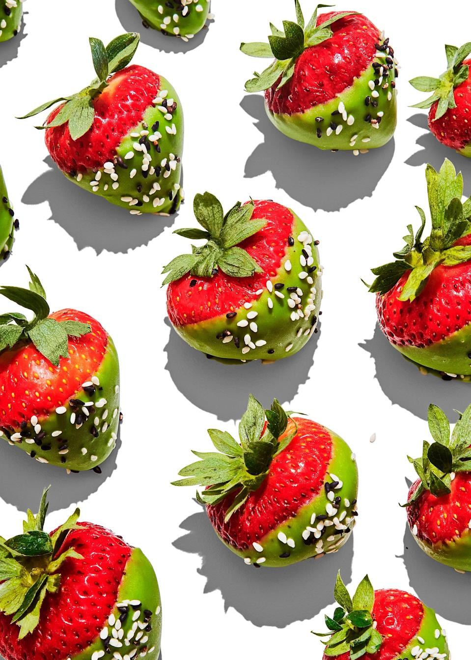 "Matcha and sesame seeds take these strawberries to a place chocolate-dipped berries only dream of. You won't stop at just one. <a href=""https://www.bonappetit.com/recipe/matcha-dipped-strawberries?mbid=synd_yahoo_rss"" rel=""nofollow noopener"" target=""_blank"" data-ylk=""slk:See recipe."" class=""link rapid-noclick-resp"">See recipe.</a>"