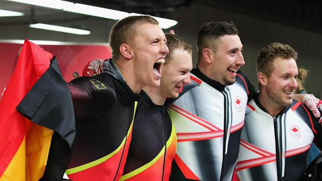Harold Lorentzen's speed skating victory came by a wafer-thin margin, but the bobsleigh teams of Canada and Germany could not be separated.