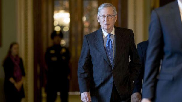 PHOTO: Senate Majority Leader Mitch McConnell, a Republican from Kentucky, walk to his office at the U.S. Capitol in Washington, D.C., April 7, 2017. (Andrew Harrer/Bloomberg via Getty Images)