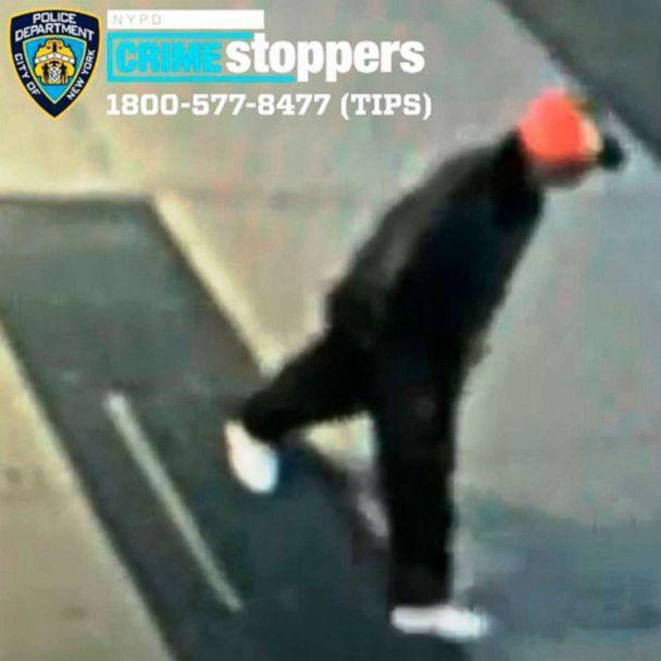 PHOTO: This April 23, 2021, image from surveillance video made available by the New York City Police Department shows an unidentified individual police who are seeking after a 61-year-old Asian man was attacked in the East Harlem neighborhood of New York. (NYPD via AP)