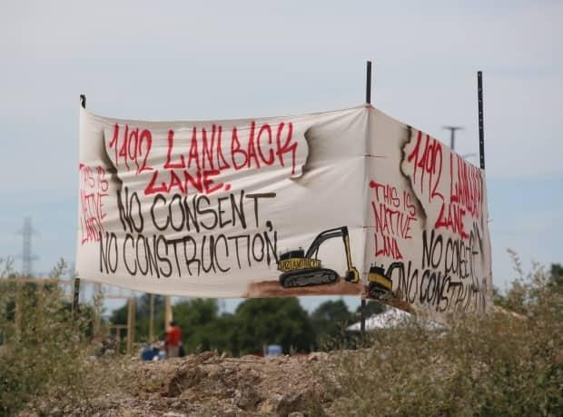 Demonstrators stopped the McKenzie Meadows development on July 19, 2020, and have been occupying the site since, renaming it 1492 Land Back Lane. (Dan Taekema/CBC - image credit)