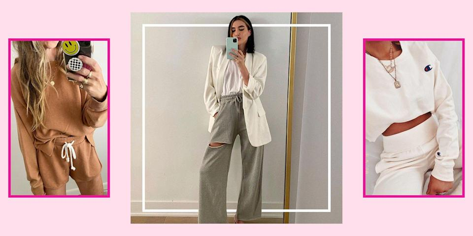 """<p>Real pants are officially cancelled, hunny! Cause let's be honest, no one in their right mind would try to rock a pair of jeans in our current situation. And since you'll now be finishing up the school year at home, there ain't no better time to whip out your <a href=""""http://www.seventeen.com/fashion/trends/g32009498/loungewear-sets/"""" rel=""""nofollow noopener"""" target=""""_blank"""" data-ylk=""""slk:comfiest loungewear"""" class=""""link rapid-noclick-resp"""">comfiest loungewear</a>. I don't know who needs to hear this (me, I need to hear this), but you can't get away with wearing the same stained T-shirt on Zoom forever, you know. </p><p>Make your unwashed sweats feel brand new with these adorable sweatpants outfits that will make you reject your pile of denim for the foreseeable future – or, at least until the end of lockdown. So go ahead and start scrolling for all the cutest ways to dress up your comfiest hoodies, sweatshirts, sweatpants, and joggers. </p>"""