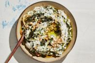 """This dip recipe uses spinach, but it can be made with cooked <a href=""""https://www.epicurious.com/ingredients/best-beet-recipes-salad-pickle-sandwich-gallery?mbid=synd_yahoo_rss"""" rel=""""nofollow noopener"""" target=""""_blank"""" data-ylk=""""slk:beets"""" class=""""link rapid-noclick-resp"""">beets</a> or roasted eggplant, too. <a href=""""https://www.epicurious.com/recipes/food/views/spinach-yogurt-dip-with-sizzled-mint?mbid=synd_yahoo_rss"""" rel=""""nofollow noopener"""" target=""""_blank"""" data-ylk=""""slk:See recipe."""" class=""""link rapid-noclick-resp"""">See recipe.</a>"""