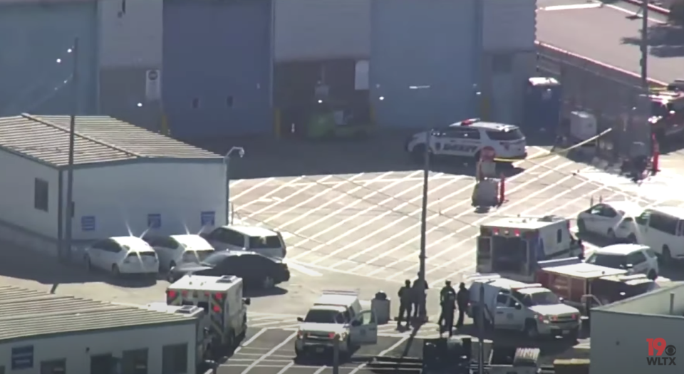 Police and ambulance on site at the Santa Clara Valley Transportation Authority in California after a shooting.