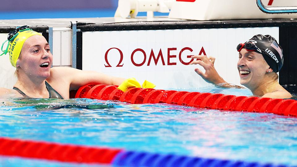 Ariarne Titmus and Katie Ledecky, pictured here in the 400m freestyle final.