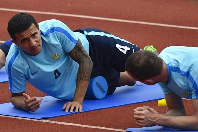 Tim Cahill says he has recovered from an ankle injury and is fit to play for Australia in this week's World Cup play-off second leg with Honduras in Sydney (AFP Photo/JOHAN ORDONEZ)