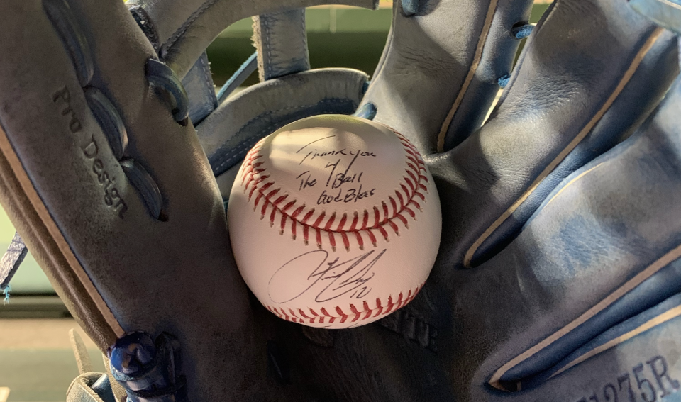 The ball Colin Sullivan received from Francisco Lindor. (Image provided by Colin Sullivan)