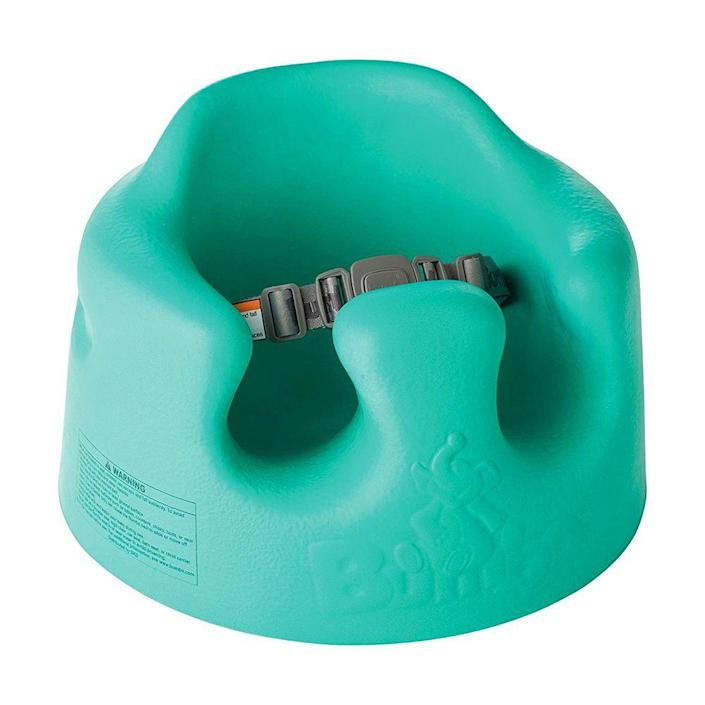 """<p><strong>Bumbo</strong></p><p>amazon.com</p><p><strong>$49.99</strong></p><p><a href=""""http://www.amazon.com/dp/B01NAECQ1U/?tag=syn-yahoo-20&ascsubtag=%5Bartid%7C2089.g.113%5Bsrc%7Cyahoo-us"""" rel=""""nofollow noopener"""" target=""""_blank"""" data-ylk=""""slk:Shop Now"""" class=""""link rapid-noclick-resp"""">Shop Now</a></p><p>This popular floor seat is a parent-favorite pick for babies who are able to support their heads at around 4 months old. The high back and strap harness keeps your baby safe and secure. </p><p>But it bears repeating: Bumbo seats should only be used on the floor. </p>"""
