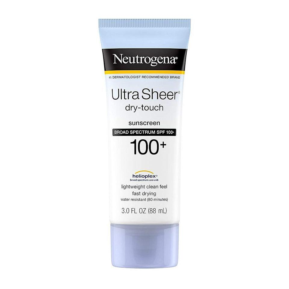 """<p><strong>Neutrogena</strong></p><p>amazon.com</p><p><strong>20.00</strong></p><p><a href=""""https://www.amazon.com/dp/B001OMIA0A?tag=syn-yahoo-20&ascsubtag=%5Bartid%7C2141.g.32869392%5Bsrc%7Cyahoo-us"""" rel=""""nofollow noopener"""" target=""""_blank"""" data-ylk=""""slk:Shop Now"""" class=""""link rapid-noclick-resp"""">Shop Now</a></p><p>Day hikes include sweating and a ton of sun exposure, however, sunscreen is a sure way to protect yourself from torturing sunburns. This dermatologist-approved sunscreen is one of <a href=""""https://www.prevention.com/beauty/skin-care/g20174383/best-sunscreens/"""" rel=""""nofollow noopener"""" target=""""_blank"""" data-ylk=""""slk:our favorites"""" class=""""link rapid-noclick-resp"""">our favorites</a>, starring the highest amount of broad spectrum SPF protection on the market, safeguarding you from UVA and UVB rays that can cause skin cancer and aging skin. Its non-greasy formula feels light on the face and body, and it absorbs extremely well without clogging pores. </p>"""