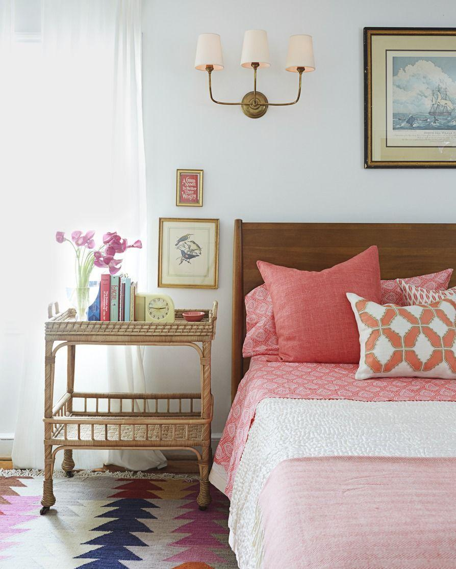 "<p><a href=""https://www.goodhousekeeping.com/home/decorating-ideas/g2507/quick-decor-changes/"" rel=""nofollow noopener"" target=""_blank"" data-ylk=""slk:Swap out the bedside table"" class=""link rapid-noclick-resp"">Swap out the bedside table</a> for a fresh find, like a trunk or wooden crate. This vintage wicker bar cart boasts two shelves for books, jewelry, and trinkets. </p>"