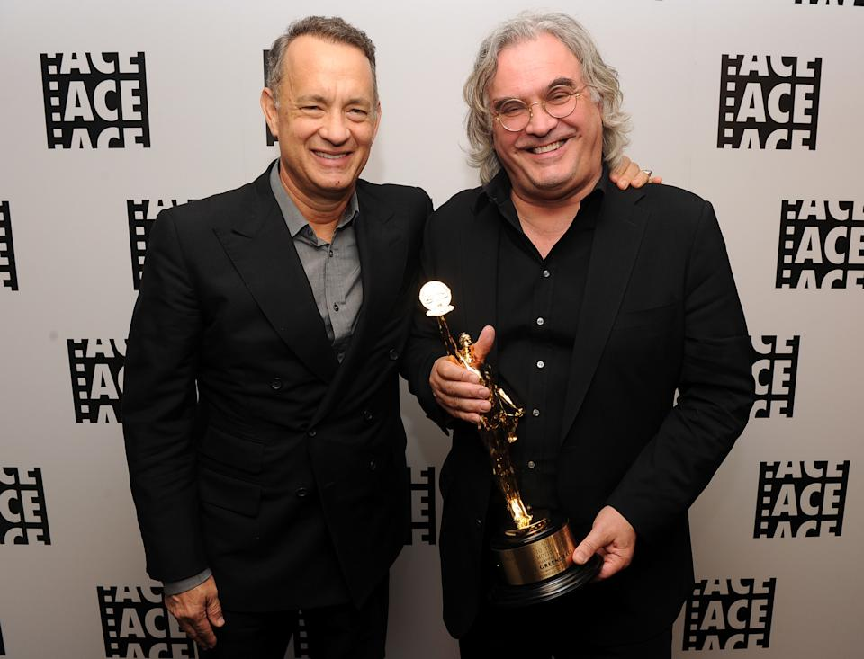 Tom Hanks and Paul Greengrass pose in the green room at the 64th Annual ACE Eddie Awards on February 7, 2014. (Photo by Kevin Winter/Getty Images)
