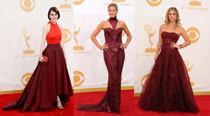 """<div class=""""caption-credit""""> Photo by: Getty Images</div><div class=""""caption-title""""></div><b>Bordeaux Rules:</b> Or """"pomegranate,"""" as Tim Gunn corrected Ryan, in reference to Heidi Klum's bedazzled and walk-hindering wine-colored Atelier Versace number. The dark, lush hues came in a few different iterations on the carpet, starting with Heidi's bedazzled and walk hindering gown to <strike>Lady Mary</strike> Michelle Dockery's simply gorgeous tones-of Prada high-low dress to Kaley Cuoco's Vera Wang tulle confection. <br> <br> <b>More from <i>Glamour</i>:</b> <br> <a rel=""""nofollow"""" href=""""http://www.glamour.com/beauty/2013/04/25-celebrity-haircuts-that-will-make-you-want-bangs?mbid=synd_yshine"""" target="""""""">25 Celebrity Hairstyles That Will Make You Want Bangs</a> <br> <a rel=""""nofollow"""" href=""""http://www.glamour.com/fashion/2012/08/10-wardrobe-essentials-every-woman-should-own?mbid=synd_yshine"""" target="""""""">10 Wardrobe Essentials Every Woman Should Own</a>"""