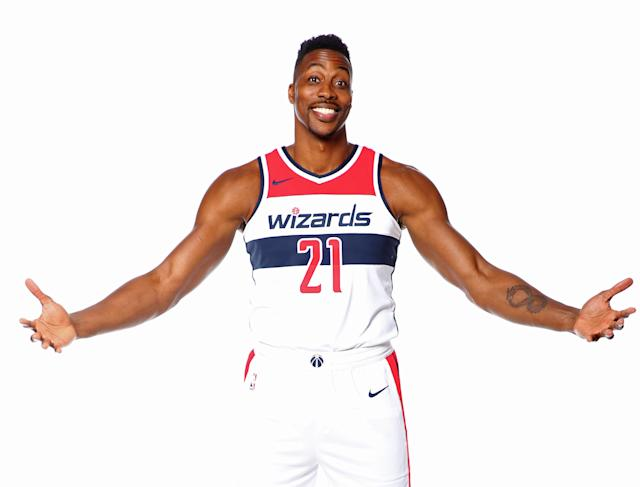"<a class=""link rapid-noclick-resp"" href=""/nba/players/3818/"" data-ylk=""slk:Dwight Howard"">Dwight Howard</a> invites you to embrace his evolution. (Getty)"