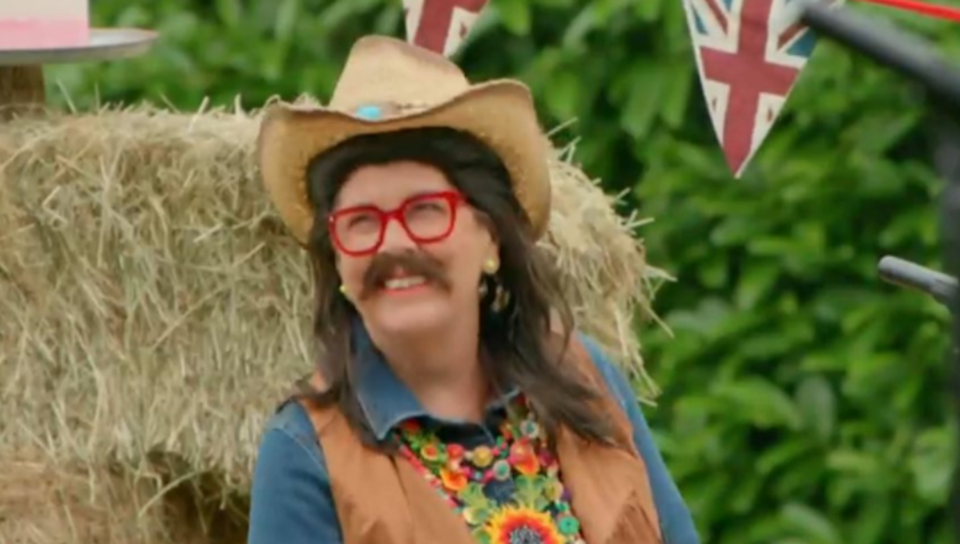 Prue Leith dresses up in the first episode of Bake Off  (Channel 4)