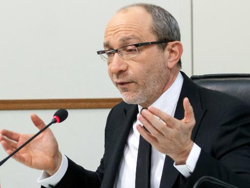 A picture taken on March 11, 2014 shows Gennady Kernes speaking during the city council in Kharkiv