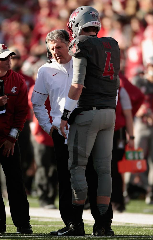 "<a class=""link rapid-noclick-resp"" href=""/ncaaf/players/230552/"" data-ylk=""slk:Luke Falk"">Luke Falk</a> has thrown for more than 10,000 yards during his time under Mike Leach at Washington State. (Getty)"