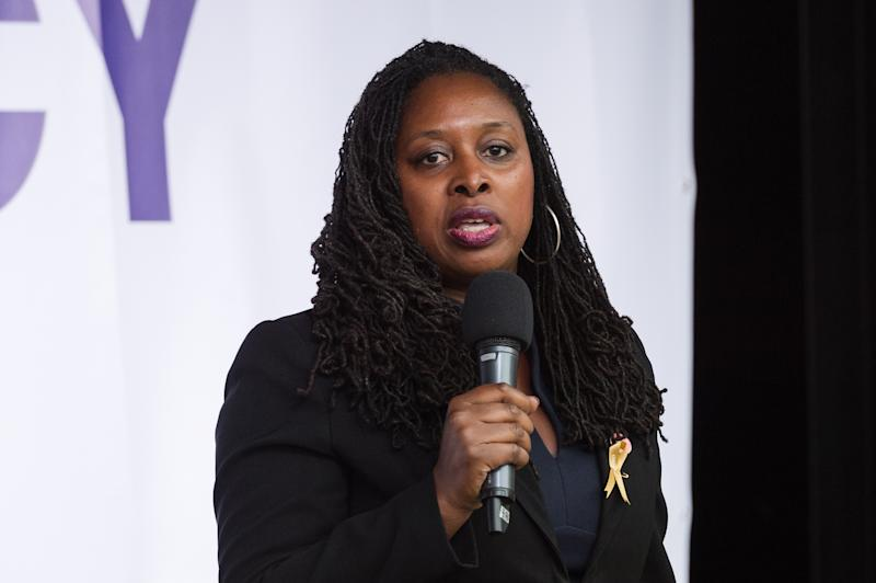 LONDON, UNITED KINGDOM - SEPTEMBER 04: Shadow Women & Equalities Secretary Dawn Butler speaks to thousands of pro-EU demonstrators gathered for a cross-party rally in Parliament Square, organised by the People's Vote Campaign on 04 September, 2019 in London, England, to protest against Boris Johnson's Brexit strategy which involves leaving the EU on 31 October 2019 with or without an exit deal. (Photo credit should read Wiktor Szymanowicz / Barcroft Media via Getty Images)