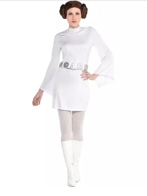 Woman dressed as Star Wars Princess Leia in white dress with long sleeves and space buns hair
