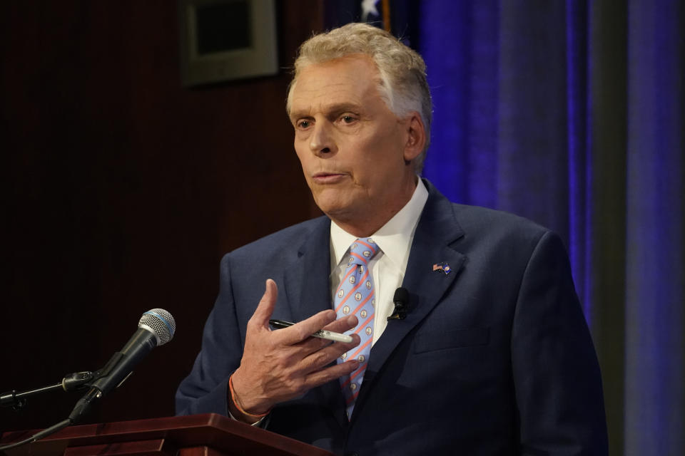 Democratic gubernatorial candidate and former governor Terry McAuliffe, gestures during a debate at the Appalachian School of Law in Grundy, Va., Thursday, Sept. 16, 2021. (AP Photo/Steve Helber)