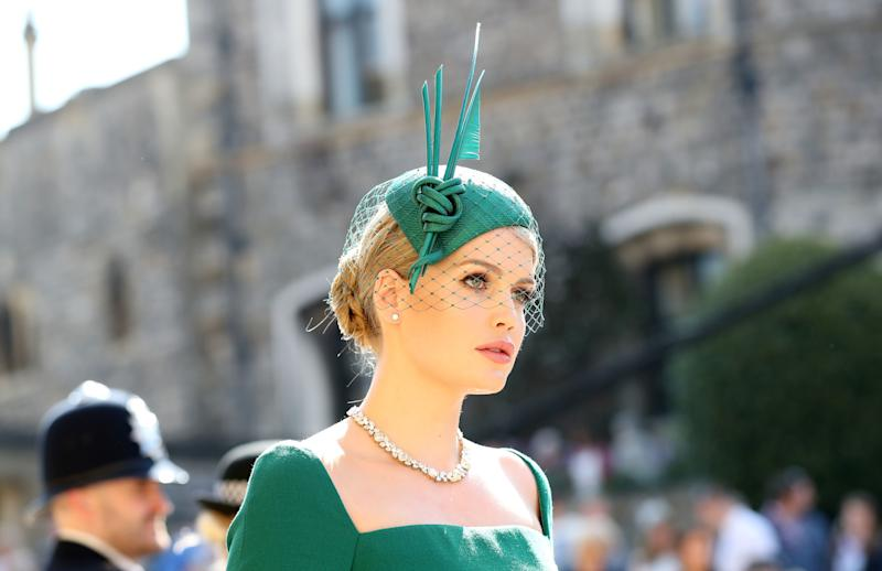 Kitty Spencer wearing a green dress and hat at the wedding ceremony of Britain's Prince Harry, Duke of Sussex and US actress Meghan Markle at St George's Chapel, Windsor Castle, in Windsor, on May 19, 2018.