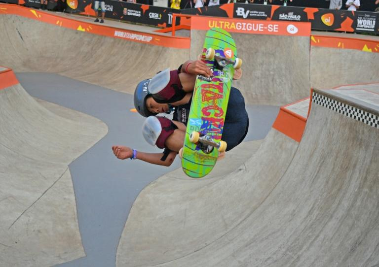 Misugu Okamoto on her way to gold at the World Park Skateboarding Championships in Sao Paulo at the weekend (AFP Photo/CARL DE SOUZA)