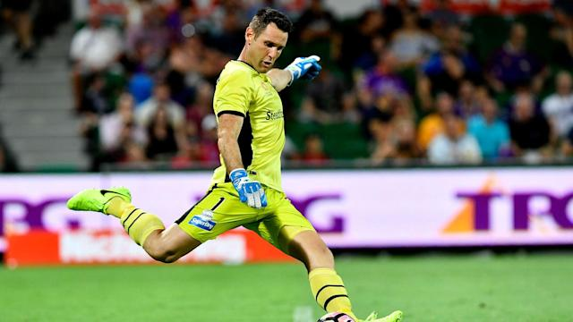 Michael Theo was dismissed towards the end of a meeting with Adelaide United, forcing an outfield team-mate to go in goal and face a late penalty
