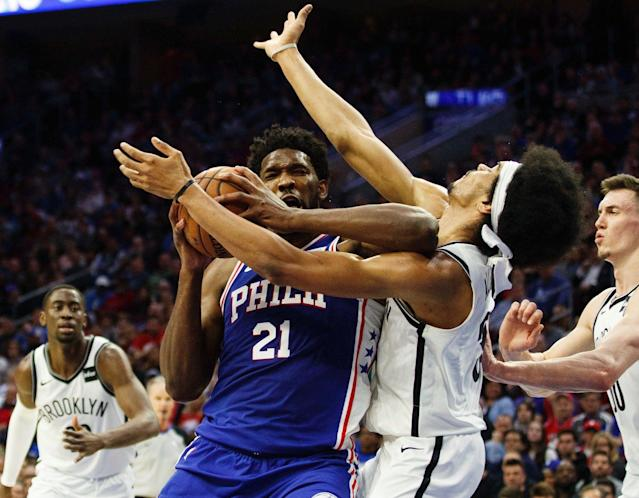 Nets players are salty after Joel Embiid laughed while talking about elbowing Jarrett Allen. (AP)