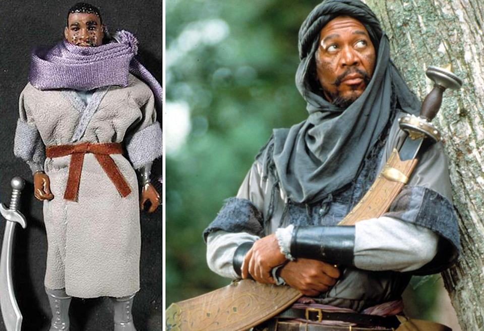 <p>Morgan Freeman's 'Robin Hood: Prince of Thieves' character Azeem looks like he's about to be strangled to death by his giant scarf. (Photo: Kenner/Everett)</p>
