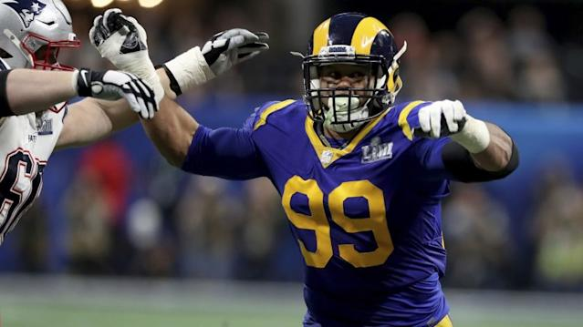 """Rams defensive end Aaron Donald added to his list of honors Monday by being named to the NFL's all-decade team of the 2010s. <span class=""""copyright"""">(Gregory Payan / Associated Press)</span>"""