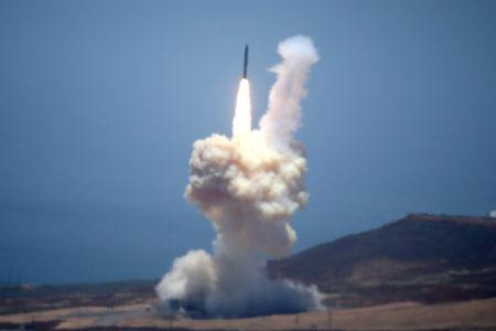 The Ground-based Midcourse Defense (GMD) element of the U.S. ballistic missile defense system launches during a flight test from Vandenberg Air Force Base