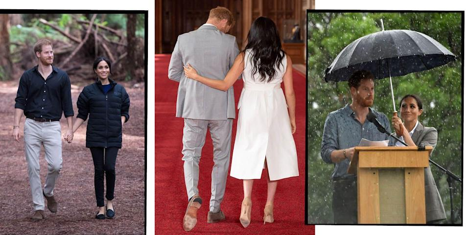 """<p>From the early days of their courtship and their <a href=""""https://www.elle.com/uk/royal-wedding/"""" rel=""""nofollow noopener"""" target=""""_blank"""" data-ylk=""""slk:royal wedding"""" class=""""link rapid-noclick-resp"""">royal wedding</a> day, to their <a href=""""https://www.elle.com/uk/life-and-culture/culture/a23058706/meghan-markle-prince-harry-autumn-tour-details-announced/"""" rel=""""nofollow noopener"""" target=""""_blank"""" data-ylk=""""slk:royal tour of Australia, Fiji, Tonga, and New Zealand"""" class=""""link rapid-noclick-resp"""">royal tour of Australia, Fiji, Tonga, and New Zealand</a>, <a href=""""https://www.elle.com/uk/life-and-culture/culture/a23769868/meghan-markle-pregnant-prince-harry-first-child/"""" rel=""""nofollow noopener"""" target=""""_blank"""" data-ylk=""""slk:pregnancy announcement"""" class=""""link rapid-noclick-resp"""">pregnancy announcement</a> and tour of <a href=""""https://www.elle.com/uk/life-and-culture/a27996443/meghan-markle-prince-harry-royal-tour-africa/"""" rel=""""nofollow noopener"""" target=""""_blank"""" data-ylk=""""slk:South Africa"""" class=""""link rapid-noclick-resp"""">South Africa</a>, we haven't been able to get enough of <a href=""""https://www.elle.com/uk/life-and-culture/news/a26855/more-than-an-other/"""" rel=""""nofollow noopener"""" target=""""_blank"""" data-ylk=""""slk:Meghan Markle"""" class=""""link rapid-noclick-resp"""">Meghan Markle</a> and Prince Harry's blossoming romances over the years. </p><p>Now parents to <a href=""""https://www.elle.com/uk/life-and-culture/a27311228/royal-baby-archie-harrison-name-meaning/"""" rel=""""nofollow noopener"""" target=""""_blank"""" data-ylk=""""slk:Archie Harrison"""" class=""""link rapid-noclick-resp"""">Archie Harrison</a> and with <a href=""""https://www.elle.com/uk/life-and-culture/a29756245/meghan-markle-pregnant-prince-harry-comment-two-children/"""" rel=""""nofollow noopener"""" target=""""_blank"""" data-ylk=""""slk:rumours of a second baby"""" class=""""link rapid-noclick-resp"""">rumours of a second baby</a> on the cards, we're falling more and more in love with this family as they days go by. </p><p>Here, we take a look at their most adorabl"""