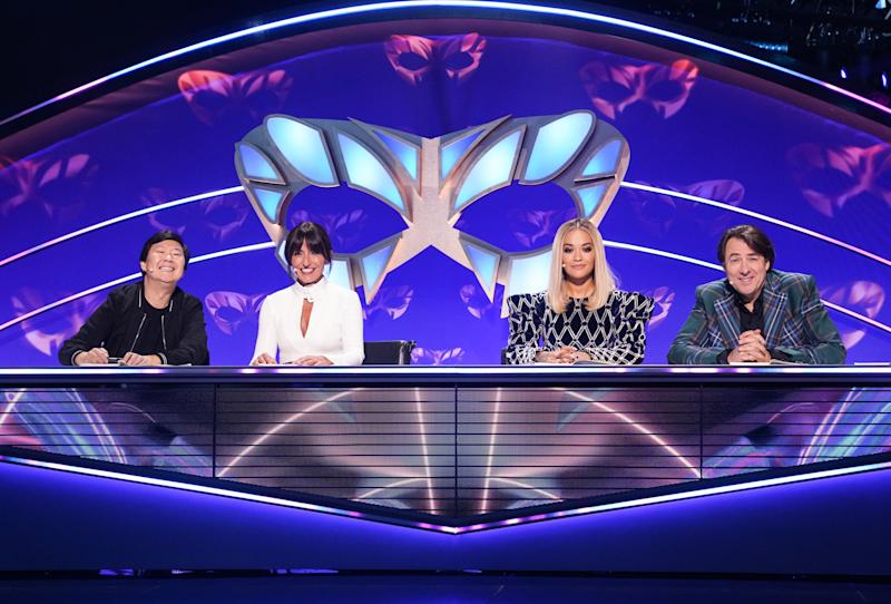 The Masked Singer judges Ken Jeong, Davina McCall, Rita Ora and Jonathan Ross. (ITV/Bandicoot)