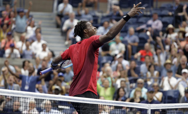 Gael Monfils, of France, reacts after winning a point against Matteo Berrettini, of Italy, during the quarterfinals of the U.S. Open tennis championships Wednesday, Sept. 4, 2019, in New York. (AP Photo/Frank Franklin II)