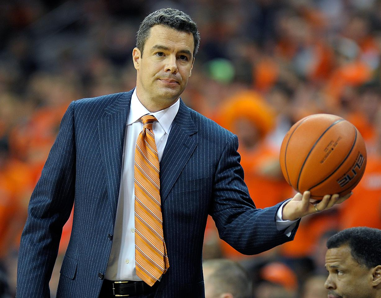 Virginia's head coach Tony Bennett during the Virginia Tech Hokies defeat of the University of Virginia Cavaliers 47 - 45  in Mens NCAA basketball at John Paul Jones Arena in Charlottesville VA, January 22, 2012.  (Photo by John McDonnell/The Washington Post)