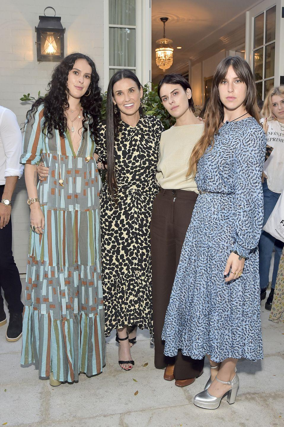 <p>The famous actress and her daughters look scarily similar with their sharp jawlines, high cheekbones and dark hair. </p><p>Earlier this summer, Rumer spoke openly about her struggles with self-esteem and body confidence growing up. Willis - who is the eldest daughter of actors Moore and Bruce Willis - said her classmates often called her 'potato head' and that she had a 'huge jaw'. </p>