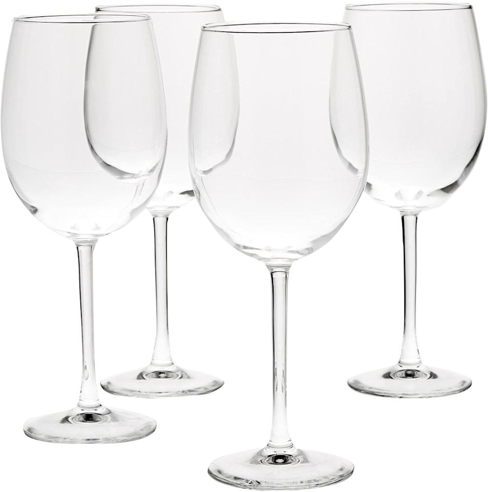 "<p><product href=""https://www.amazon.com/AmazonBasics-All-Purpose-Wine-Glasses-19-Ounce/dp/B073761KD4?ots=1&amp;slotNum=11&amp;imprToken=bcba93e9-88ac-3322-1bf&amp;tag=popsugarshopx-20&amp;linkCode=w50&amp;ref_=Oct_DLandingS_D_f0060b7b_69&amp;smid=ATVPDKIKX0DER"" target=""_blank"" class=""ga-track"" data-ga-category=""internal click"" data-ga-label=""https://www.amazon.com/AmazonBasics-All-Purpose-Wine-Glasses-19-Ounce/dp/B073761KD4?ots=1&amp;slotNum=11&amp;imprToken=bcba93e9-88ac-3322-1bf&amp;tag=popsugarshopx-20&amp;linkCode=w50&amp;ref_=Oct_DLandingS_D_f0060b7b_69&amp;smid=ATVPDKIKX0DER"" data-ga-action=""body text link"">Wine Glasses</product> ($11, originally $19)</p>"